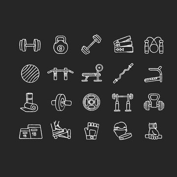 Home gym equipment chalk white icons set on black background. Strength training, physical activity. Professional gears for sport and indoor exercises. Isolated vector chalkboard illustrations