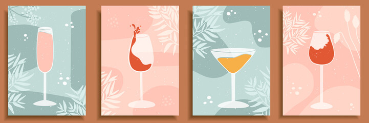 Obraz Abstract still life in pastel colors posters. Collection of contemporary art. Elements and shapes for social media, postcards, print. Hand drawn glasses, wine, drops, champagne, alcohol, cocktail. - fototapety do salonu