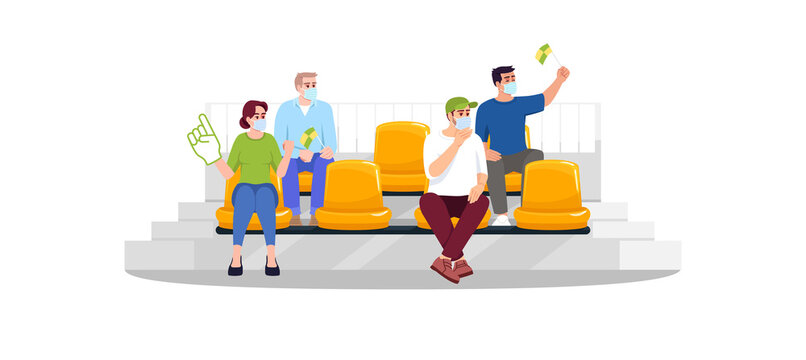 Football fans in masks semi flat RGB color vector illustration. People watching game, soccer, sports. Sporting events during pandemic. Isolated cartoon character on white background