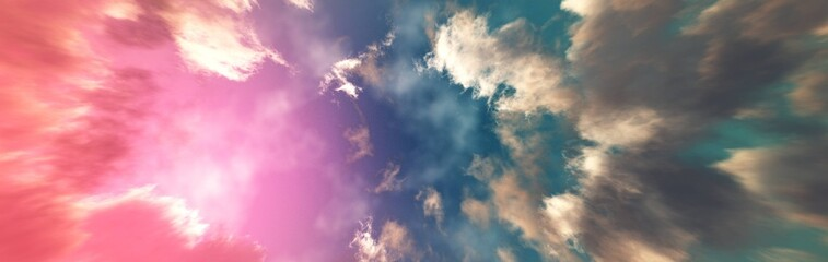 Poster Candy pink Clouds, beautiful cloudy background, panorama of clouds, 3D rendering