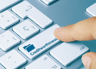 Creditworthiness - Inscription on Blue Keyboard Key.