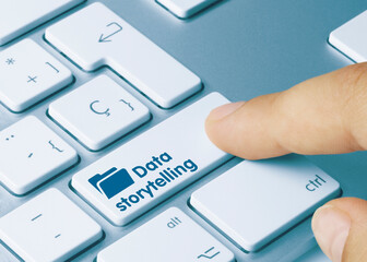 Data storytelling - Inscription on Blue Keyboard Key.