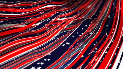 Abstract festive floating ribbons in Blue, Red, and White as canton Elements of the flag of the United States 4th of July Independence day. Stars and Stripes 3D Illustration.