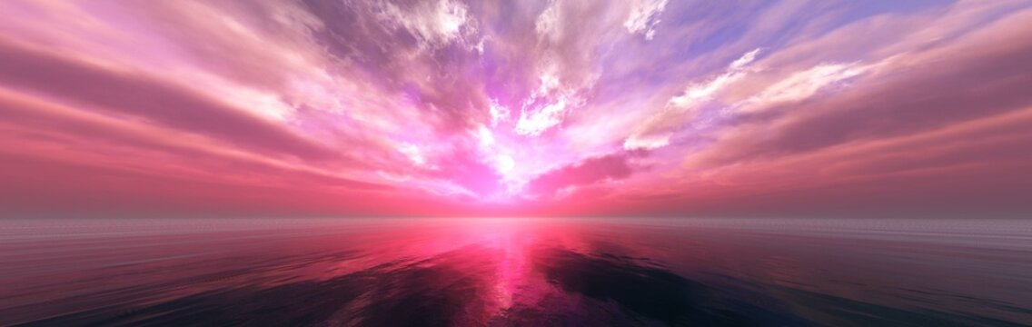 Beautiful sunset at sea, tropical sunrise, panorama of sea sunset, 3D rendering