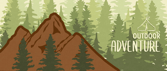 Outdoor adventure mountain forest banner