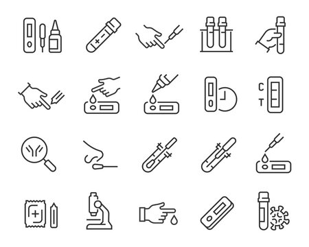 Coronavirus test and search antibody icons set. Collection of linear simple web icons such as Antibody Search, Take Smear, Finger Blood, Buffer, Coronovirus Test, Blood Syrup, Alcohol Napkin, Needle