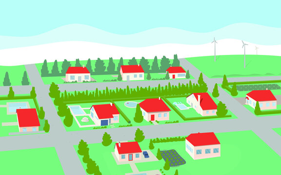 you can see many residential houses, in the yard they have pools, in the background on the hill there are wind turbines,vector,cartoon.