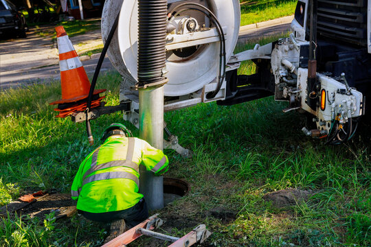 Cleaning the sewer system special equipment, utility service of the town.