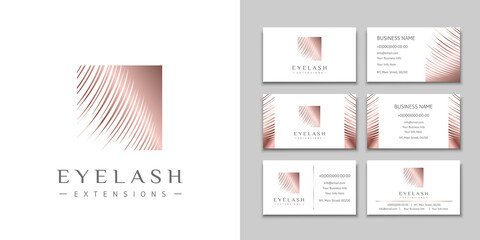 Eyelash extension logo with rose gold lashes and a set of business cards. Design brand for beauty salon, makeup and eyebrows artist