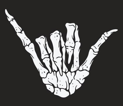 Skeleton hand making hang loose sign. Vintage illustration style.