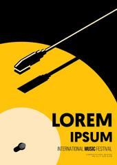 Fototapeta Music poster design template background with vinyl record vintage retro style obraz