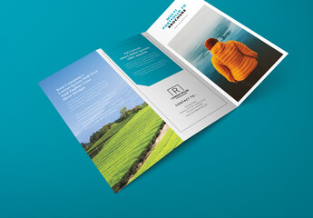 Business Trifold Brochure Layout with Pastel Accent