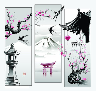 Toro's stone lantern, Sakura branches, Swallows and a paper lantern on the roof of the pagoda. Collage in oriental style. Printing with hieroglyphs - beauty, spring, harmony. Vector.