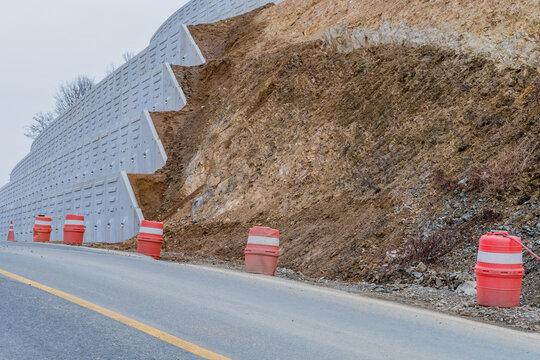 Concrete wall on hillside