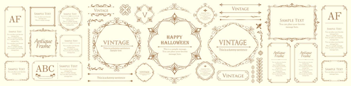 ハロウィンのフレーム素材、10月、アンティークな装飾、ビンテージな模様、植物のツタ