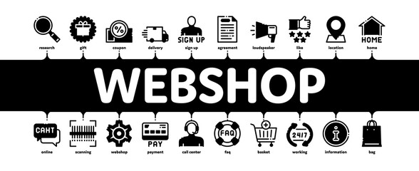 Webshop Internet Store Minimal Infographic Web Banner Vector. Webshop Online Shop Coupon And Buy, Chat And Faq, Information And Pay Illustration