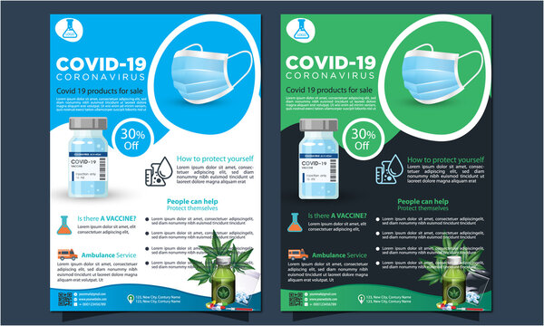 Medical product sale or coronavirus covid-19 flyer template