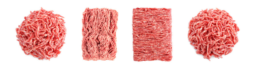 Set with raw minced meat on white background, top view. Banner design