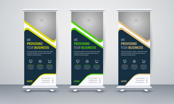 Roll up banner stand template design, blue banner layout, advertisement, pull up, polygon background, vector illustration, advertisement, pull up, x-banner and flag-banner layout, abstract background