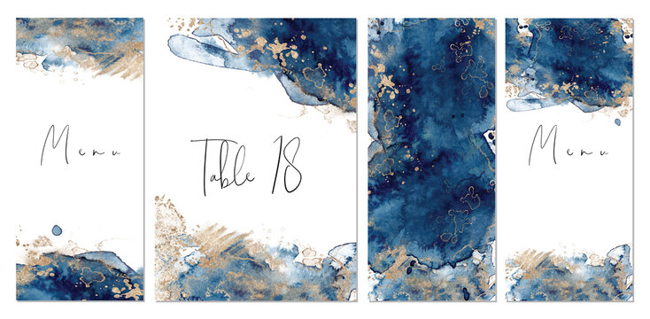 Classic blue and gold wedding set with hand drawn watercolor background. Includes table number and menu cards templates