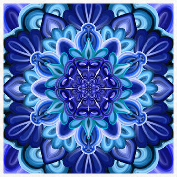 Symmetrical colorful decorated blue background
