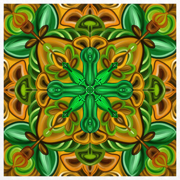 Symmetrical colorful decorated green and gold  background