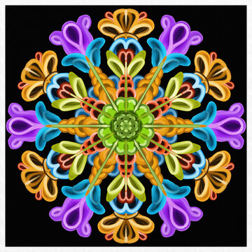 Symmetrical colorful decorated multicolor background
