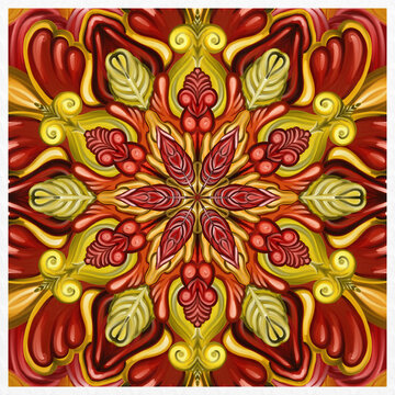 Symmetrical colorful decorated red and gold background