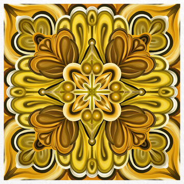 Symmetrical colorful decorated yellow background