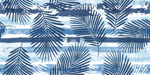 Wall Murals Pattern Tropical pattern, palm leaves seamless vector floral background. Exotic plant on blue stripes print illustration. Summer nature jungle print. Leaves of palm tree on paint lines. ink brush strokes