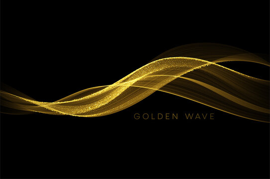 Abstract shiny color gold wave design element with glitter effect on dark background. Vector illustration