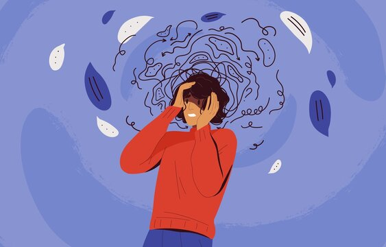 Frustrated woman with nervous problem feel anxiety and confusion of thoughts vector flat illustration. Mental disorder and chaos in consciousness. Girl with anxiety touch head surrounded by think