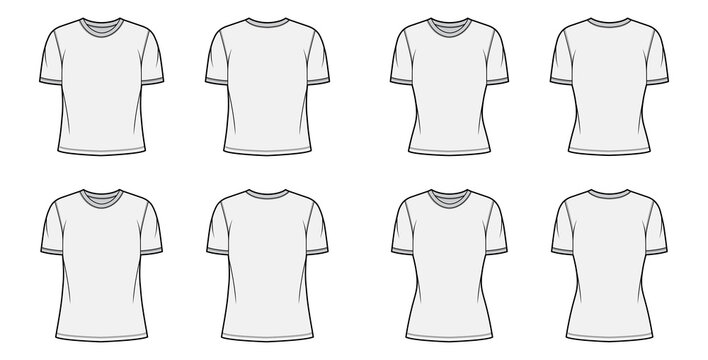 T-shirt technical fashion illustration set with crew neck, fitted and oversized long and regular body, short sleeves, flat. Apparel template front and back grey color. Women, men unisex garment mockup