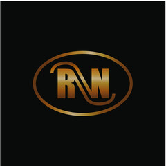 Initial Letter RN Logo Design Vector Template.