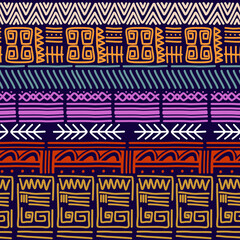 Photo sur Plexiglas Style Boho Seamless vector tribal texture set. Ethnic motifs group seamless texture. Vintage ethnic seamless backdrop. Vector stripes pattern. Perfect for printing on textile fabric or paper.