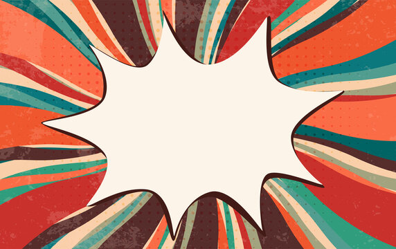 Splash or speech bubble pop art. Vintage retro starburst. Comic strip background. Wallpaper backdrop for advertising or party. Explosion in comics book style. Clouds beams. Copy space