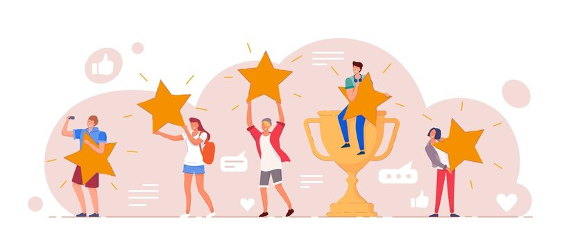 Customer feedback. Positive customer feedback or review evaluation. Man, woman people giving five star rank rating, good satisfaction level. Social media, app usability testimonial vector illustration