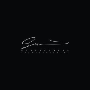 SM initials signature logo. Handwriting logo vector templates. Hand drawn Calligraphy lettering Vector illustration.