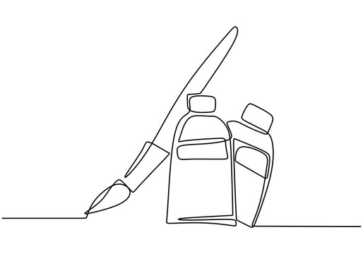 Brush and paint of the tube one line drawing vector illustration isolated on white background. Concept of tool for artist or painter minimalist style. Vector illustration simplicity hand drawn