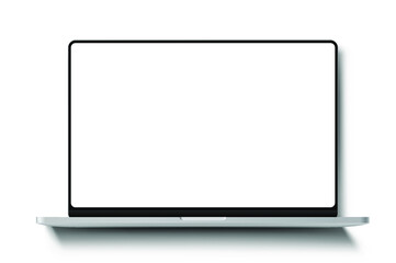 Laptop frameless blank screen template lying on the screen with long shadow - vector eps 10