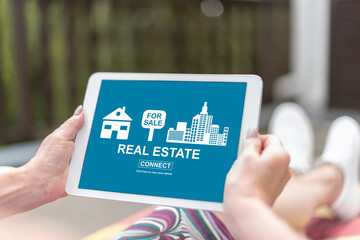 Real estate concept on a tablet