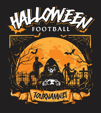 halloween football tournament annual event theme poster