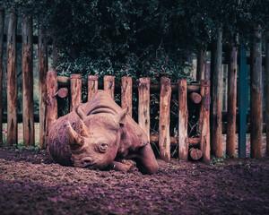 Foto op Canvas Neushoorn aged rhino