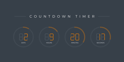 Vector modern design circle countdown timer display. Time counter with hours, hours, minutes and seconds. Gray background.