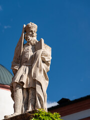 Statue in front of Basilica of the Birth of the Virgin Mary in Mariazell