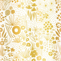 Metallic gold foil flower field on white seamless vector pattern. Repeating golden liberty doodle flower meadow background. Elegant florals for home decor, wedding, summer party, cards, invites