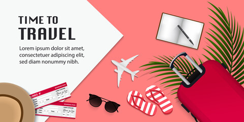 Travel infographic, time to travel vector illustration with travel items on pink background