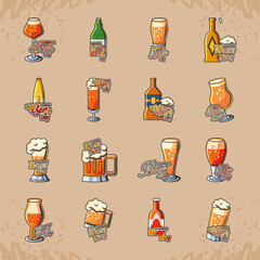 International beer day detailed style icon set vector design