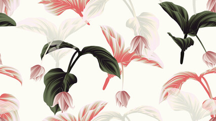 Seamless pattern, Medinilla magnifica flowers with leaves on light grey background, green, red and white tones