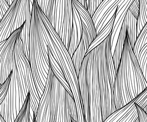 Seamless pattern, hand drawn outline black ink long shape leaves on white background